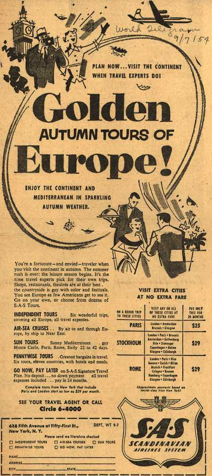 Scandinavian Airlines System's Autumn tour of Europe – Golden Autumn Tours of Europe (1954)