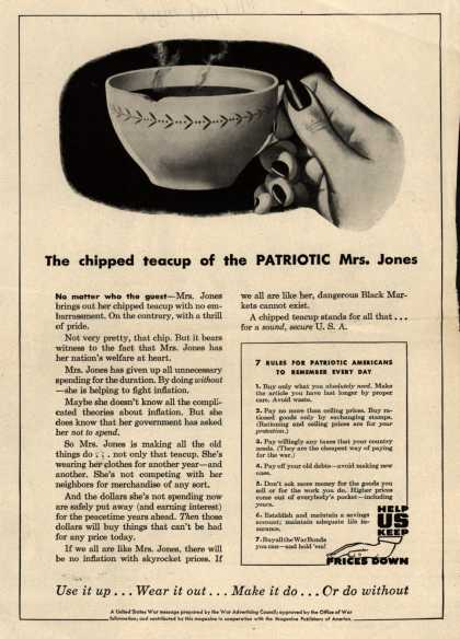 War Advertising Council's Anti-inflation – The chipped teacup of the Patriotic Mrs. Jones (1944)