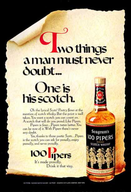 100 Pipers Scotch Whisky Bottle Print (1971)