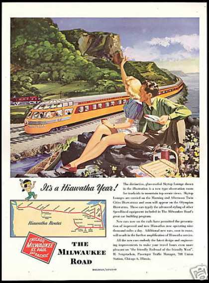 Milwaukee Road Train Railroad Hiawatha Art (1948)