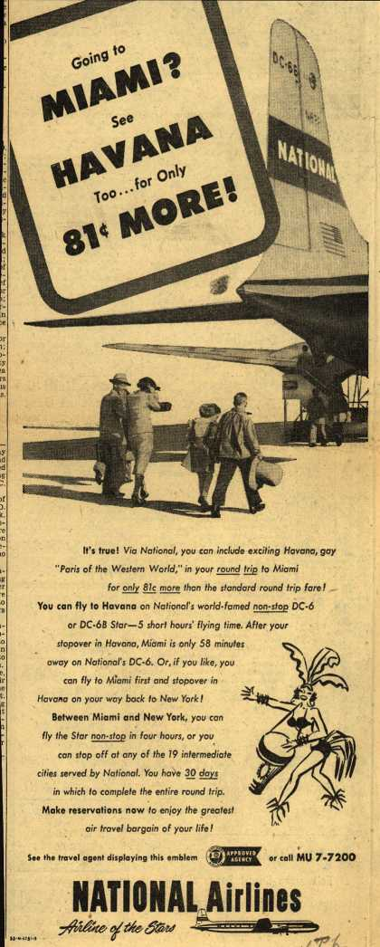 National Airline's Havana – Going to Miami? See Havana Too... for only $0.81 More (1953)