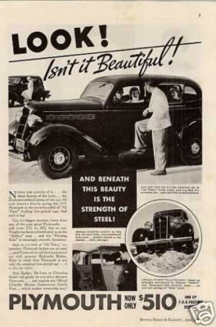 "Plymouth Car Ad ""Look! Isn't It Beautiful... (1935)"