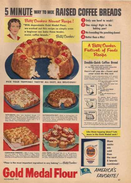 Gold Medal Flour Coffee Bread Receipe (1953)