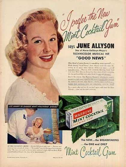 Warrens Mint Cocktail Gum Ad June Allyson (1948)