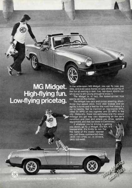Mg Midget Ad – Boy On Skateboard Jumping Over (1977)