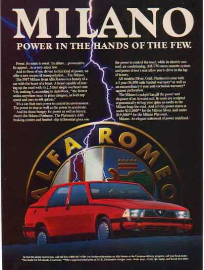 Milano Alfa Romeo Car – Lightening Bolt (1987)
