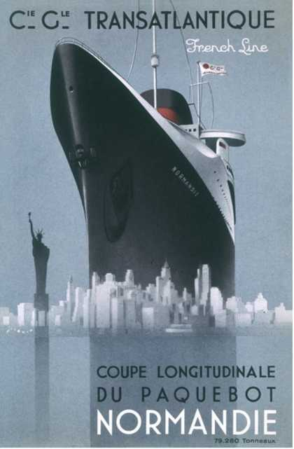 Poster Emphasising the Great Size of the French Transatlantic Liner at le Havre