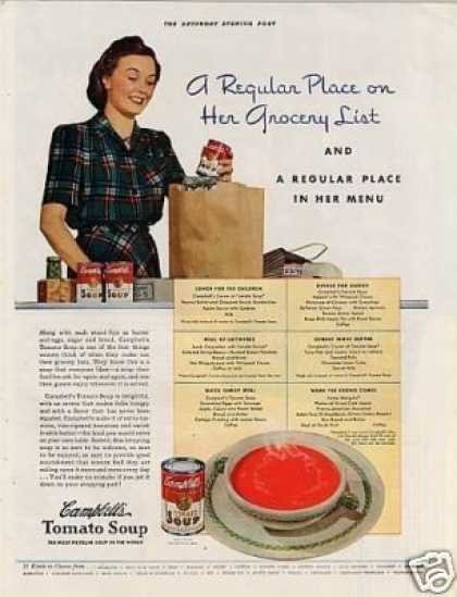 "Campbell's Tomato Soup Ad ""A Regular Place... (1941)"
