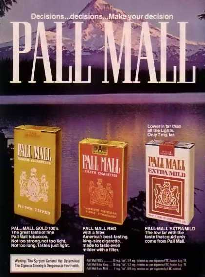 Pall Mall Cigarettes – Snowy Mountain View (1977)