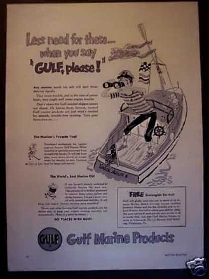 Cartoon Boat Art Gulf Marine Products Motor Oil (1951)