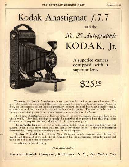 Kodak – Kodak Anastigmat f.7.7 and the no. 2c Autographic Kodak, Jr. (1921)