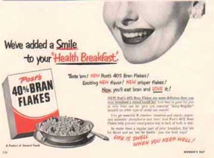 Post's Bran Flakes Cereal – General Foods (1951)