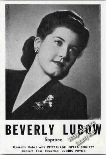 Beverly Lubow Soprano Ad Pittsburgh Opera Society (1945)