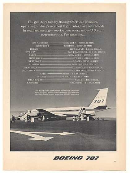 Boeing 707 Jet Route Flight Times Photo (1960)