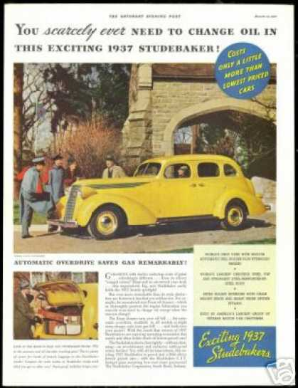 Yellow Studebaker 4 dr Photo Print Vintage Car (1937)