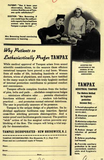 Tampax's Tampons – Why Patients so Enthusiastically Prefer Tampax (1939)