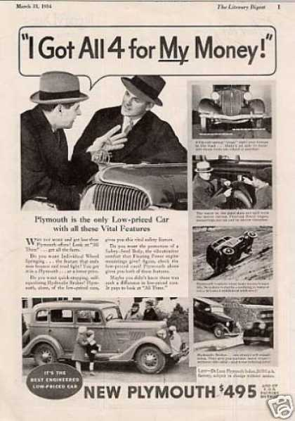 "Plymouth Car Ad ""I Got All 4 for My... (1934)"