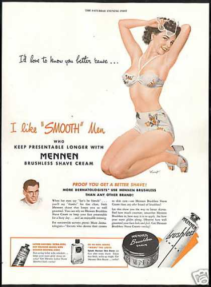 Mennen Shave Cream Sexy Swimsuit Girl Mingo Art (1946)