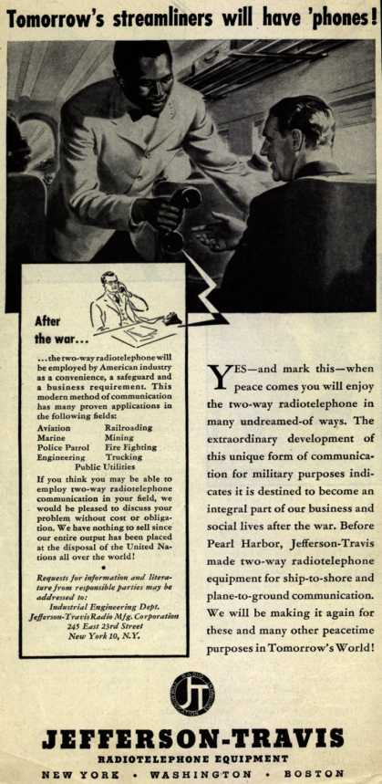 Jefferson-Travis Radio Manufacturing Corporation's Radiotelephones – Tomorrow's Streamliners Will Have 'phones (1945)