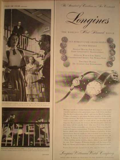 Longines Watches Worlds most honored half page (1955)
