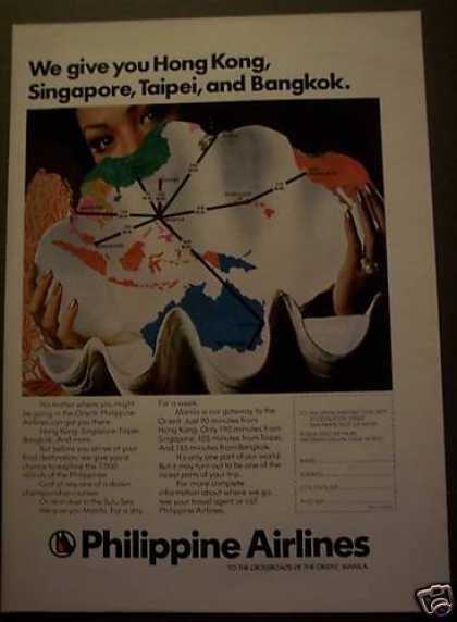 Philippine Airlines Seashell Map Orient (1975)