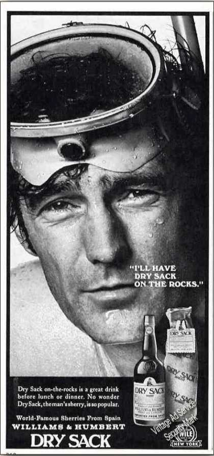 Dry Sack On the Rocks Scuba Diving Theme Wine (1971)