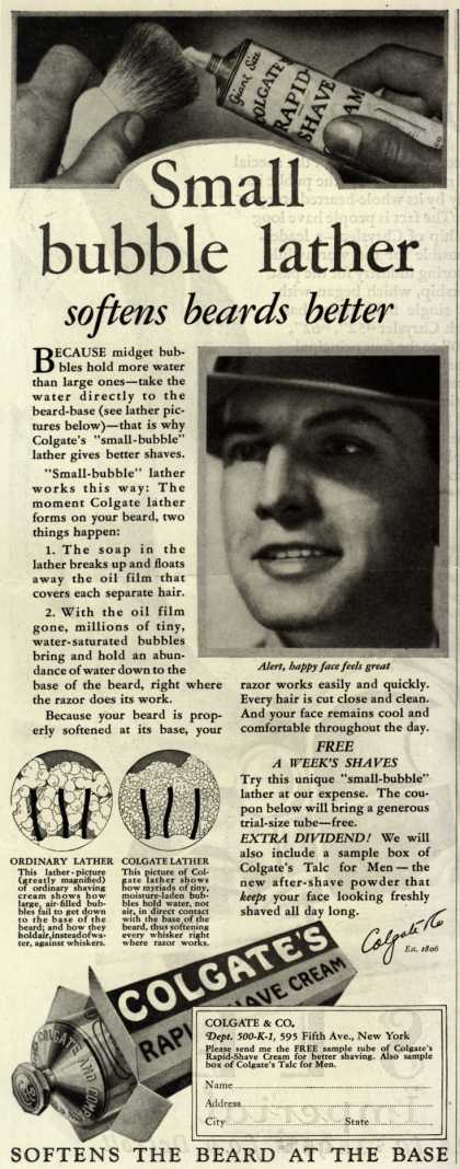 Colgate & Company's Colgate's Rapid-Shave Cream – Small bubble lather softens beards better (1927)