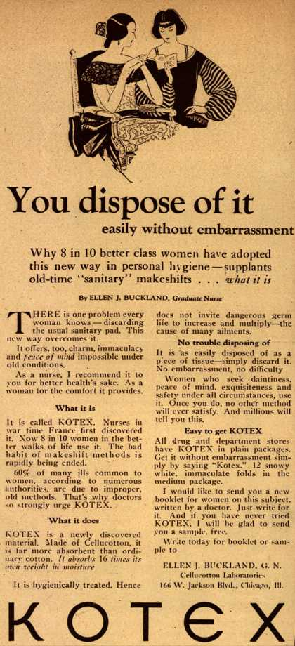Cellucotton Products Company's Sanitary Napkins – You dispose of it (1922)
