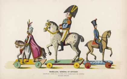 French Wooden Toy Soldiers on Their Horses Which Have Wheels