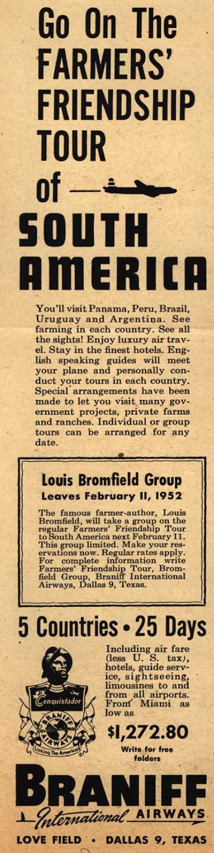 Braniff International Airway's South America tour – Go On The Farmer's Friendship Tour (1951)