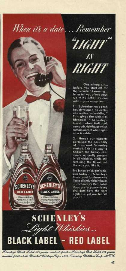 Schenleys Light Whiskies Print (1939)