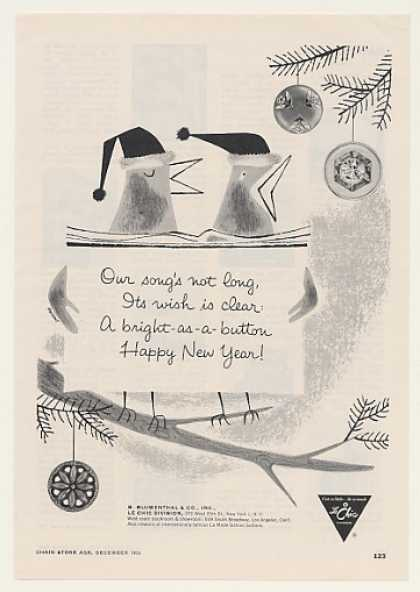 Le Chic Buttons Bird Song Happy New Year Trade (1955)