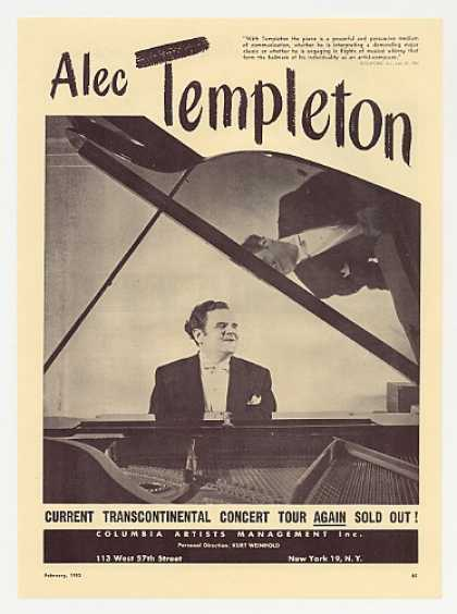 Pianist Alec Templeton Photo Booking Promo (1953)