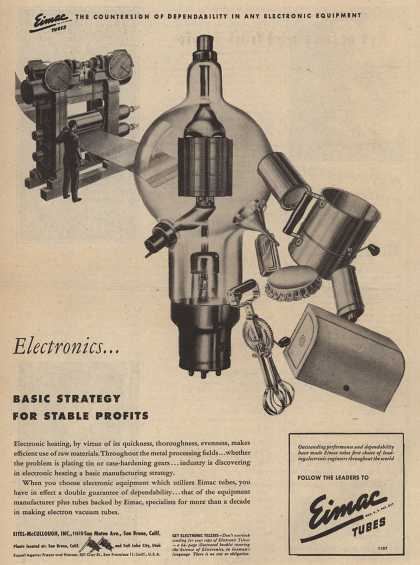 Eimac Tube's Radio Tubes – Electronics...Basic strategy for stable profits (1946)