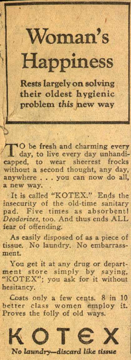 Cellucotton Products Company's Sanitary Napkins – Woman's Happiness (1925)