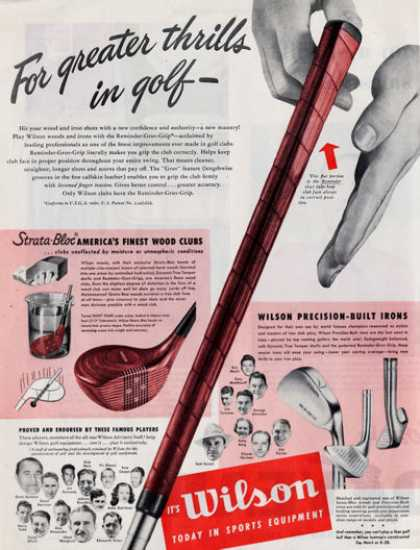 Wilson Golf Wood Clubs Endorsed By 21 Golfers (1949)