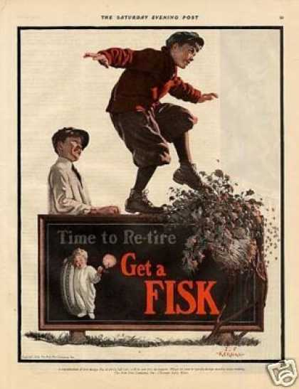 Fisk Tire Color Ad J.f. Kernan Art (1926)