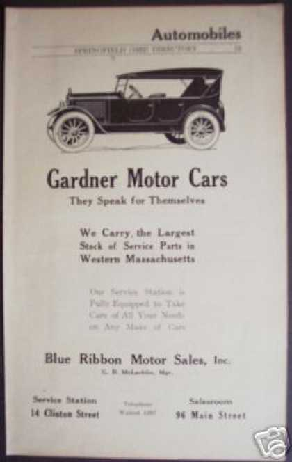 Gardner Motor Car Blue Ribbon Sales Springfield (1922)
