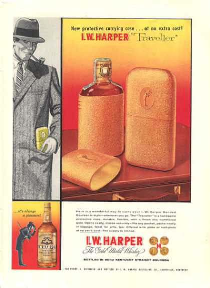 I.w. Harper Whisky Traveller Bottle Carry Case (1957)