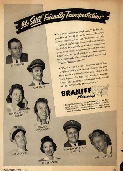"Braniff Airway's Service – It's Still ""Friendly Transportation"" (1943)"