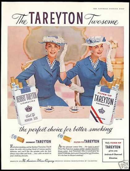 Tareyton Cigarettes Pretty Twins Hat Vintage (1956)