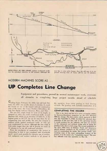 """Up Completes Line Change"" Article (1953)"