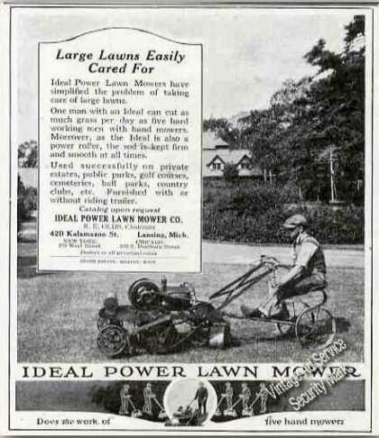 Ideal Power Lawn Mower for Large Lawns Antique (1921)