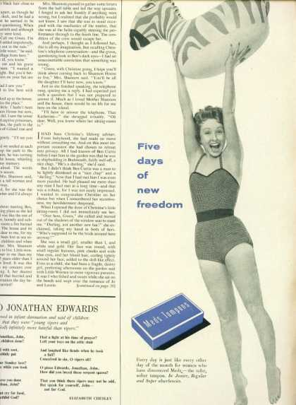 Meds Tampons 1/2 Page Ad Five Days More of Freedom (1954)