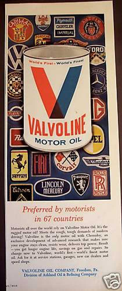 Valvoline Motor Oil In 67 Countries (1965)