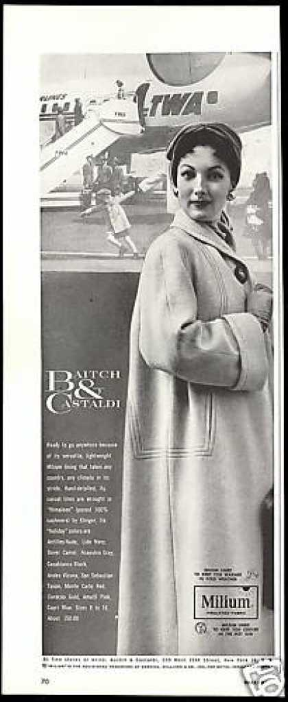 TWA Airlines Airplane Baitch Castaldi Fashion (1953)