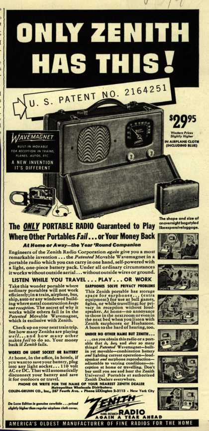 Zenith Radio Corporation's Portable Radio – Only Zenith Has This (1941)