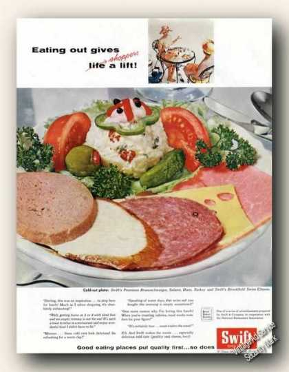 Swift Cold-cut Plate Eating Out Gives a Lift (1959)