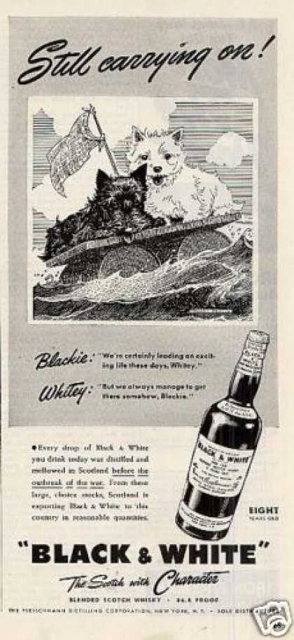 B&amp;w Ad &quot;Still Carrying On!&quot; Westie/scottie (1942)