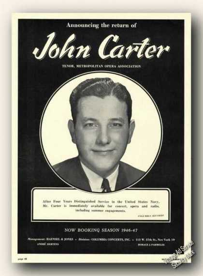 John Carter Photo Antique Opera Rare (1946)